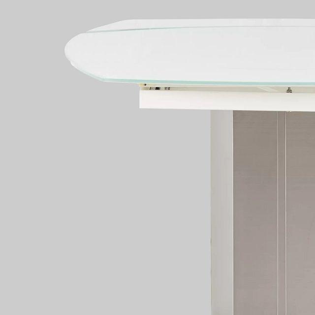 Wynwood White Glass Oval Table