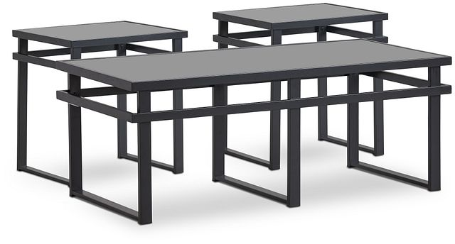 Brody Black Glass 3 Pack Tables